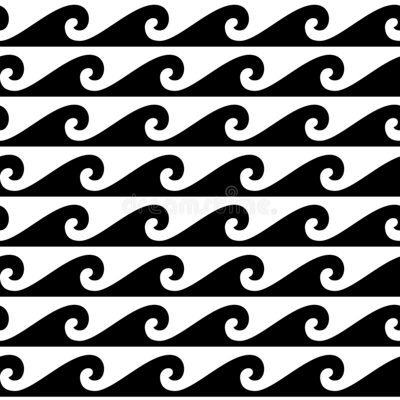 Black and white seamless wave pattern, line wave ornament in maori tattoo style for fabric, textile, wallpaper. stock illustration