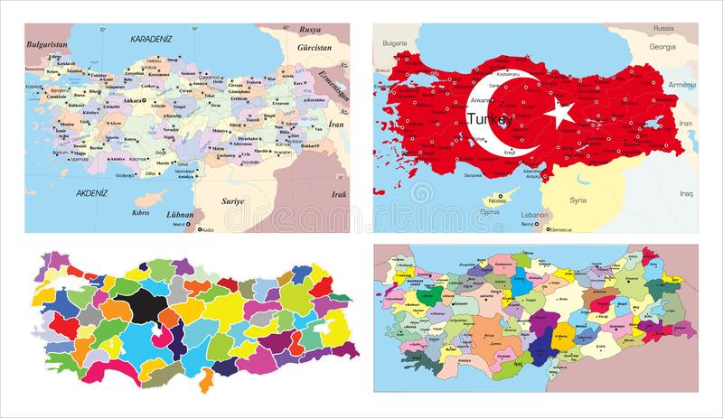Modern of turkey Map connections network design, Best Internet Concept of turkey map business from concepts series, map point and stock illustration