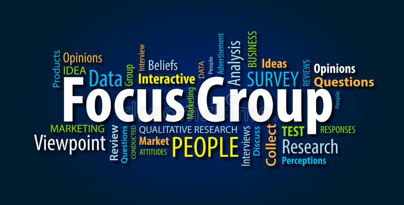 Focus Group Word Cloud. On a Blue Background royalty free stock photos