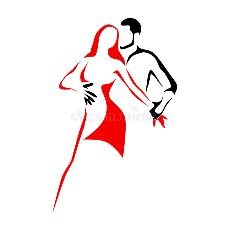 Salsa dance school logo. Couple dancing latin music stock illustration