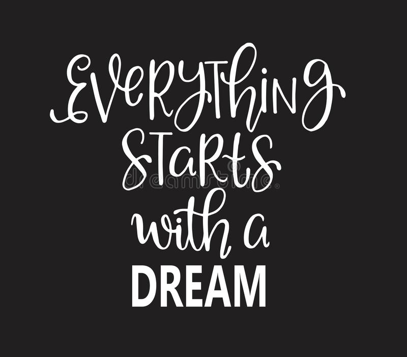 Hand drawn words. Brush pen lettering with phrase Everything starts with a dream. Vector illustration stock illustration