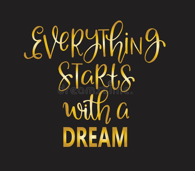 Hand drawn words. Brush pen lettering with phrase Everything starts with a dream. Vector illustration royalty free illustration