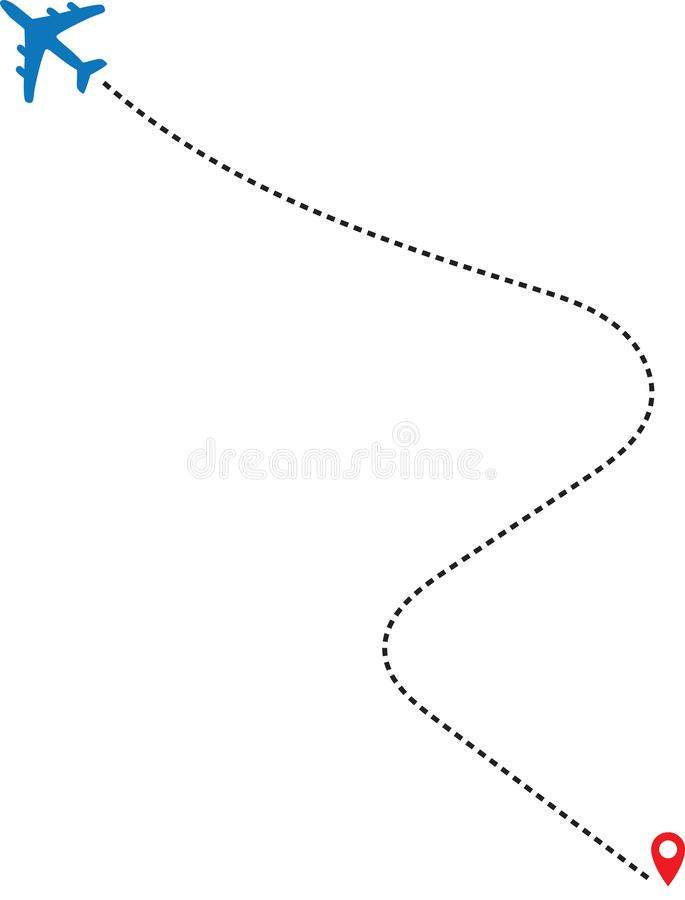 Airplane line path vector icon of air plane flight  with start point and dash line trace. Airplane line path vector icon of air plane flight route with start stock illustration