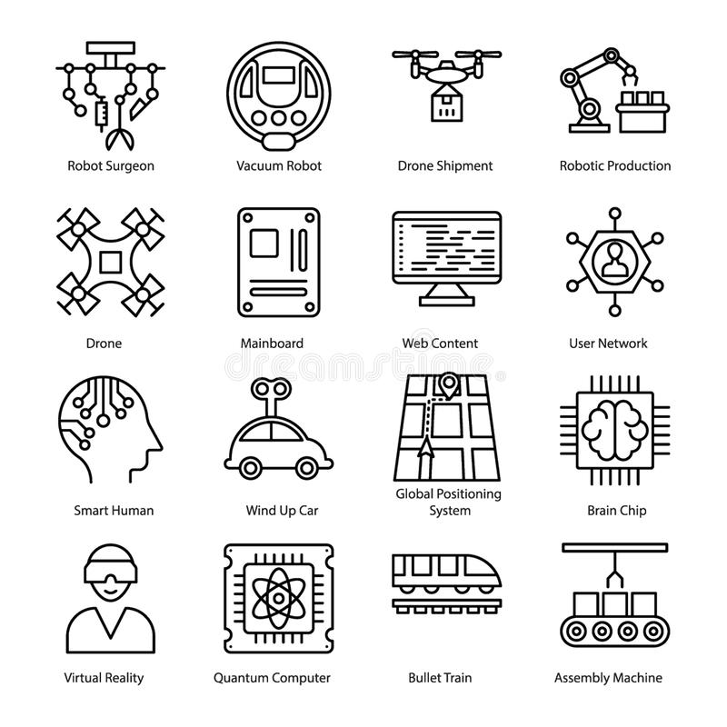 Artificial Intelligence Line Icons royalty free illustration