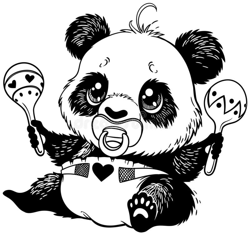 Baby panda sitting and playing. Baby panda in diaper with pacifier in mouth and playing maracas, black and white vector illustration