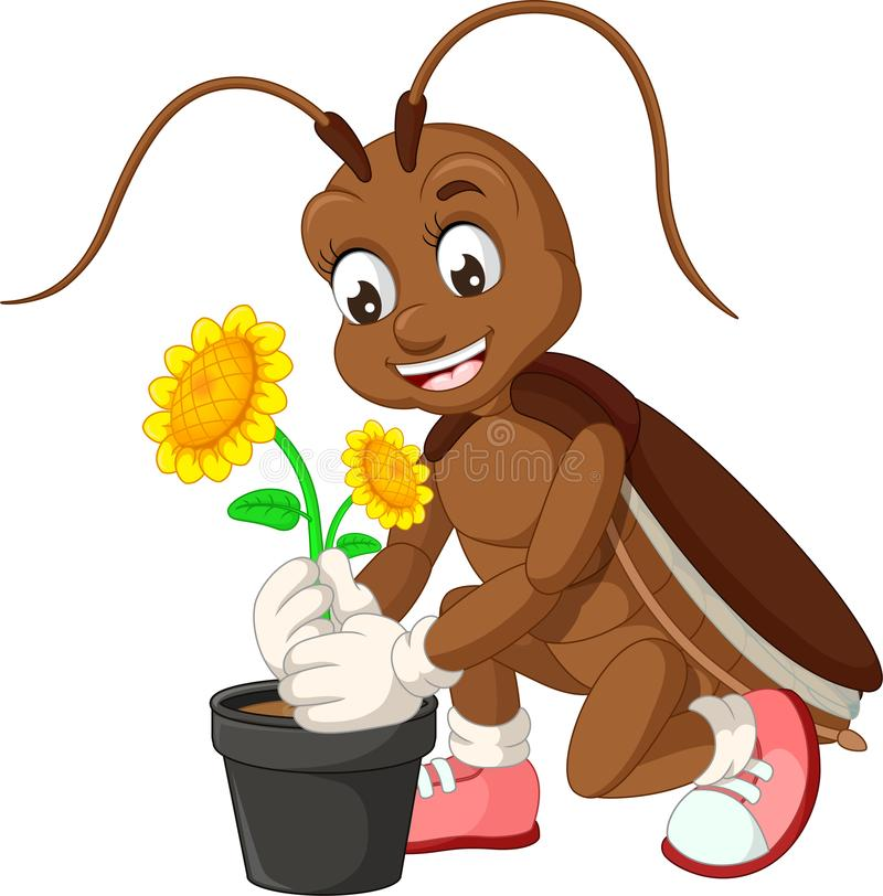 Funny Cockroach With Yellow Sunflower Cartoon stock illustration
