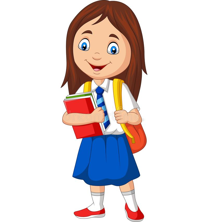 Cartoon school girl in uniform with book and backpack stock illustration