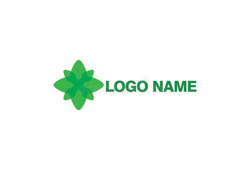 Green Flower Logo Design. Vector illustration of green flower logo design. Isolated on white background stock illustration