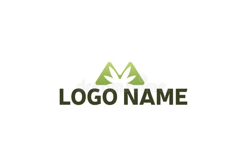 Vector illustration of marijuana leaf logo design stock illustration
