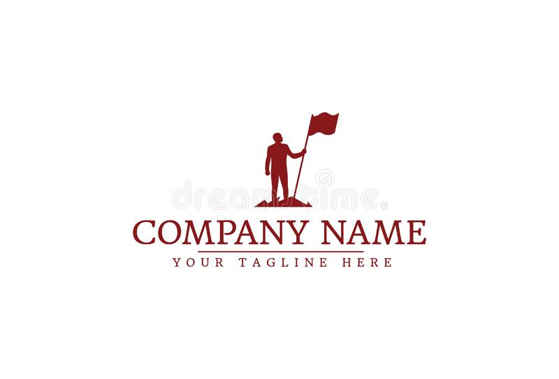 Vector Illustration Of Man With Flag royalty free illustration