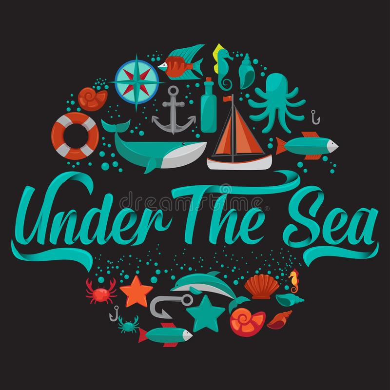 Under The Sea Typography Concept Vector Modern Design stock image