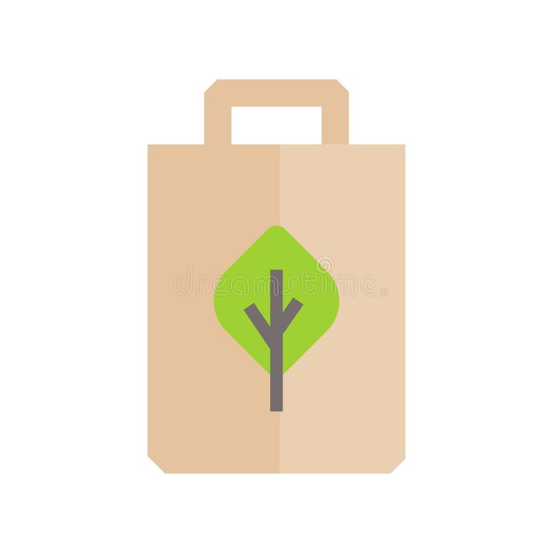 Recyclable clean organic paper bag icon. Flat illustration colored vector isolated icons of Eco Clean Green Energy for web. Flat illustration colored vector vector illustration
