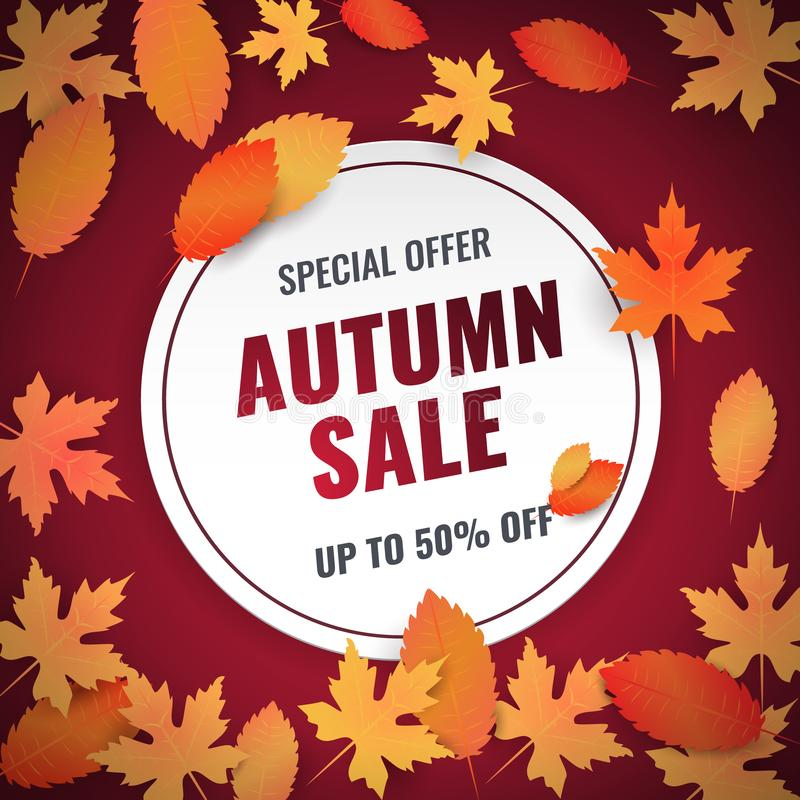 Autumn sale banner with leaves. Template for shopping sale, promo poster, card, wallpaper, flyer, discount, shop, market, special offer. Ad concept. Vector royalty free illustration