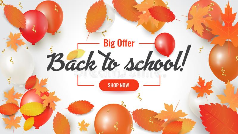 Back to school sale banner with leaves and balloons. Shopping sale, promo poster, card, wallpaper, flyer, discount, shop, market, special offer. Ad concept stock illustration