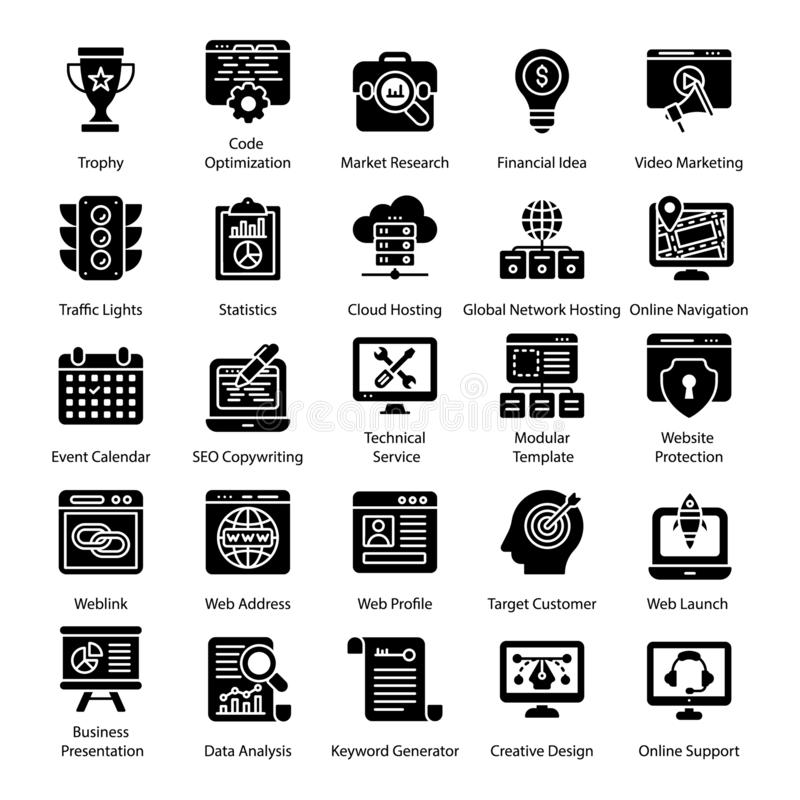 Seo Solid Icons Set vector illustration