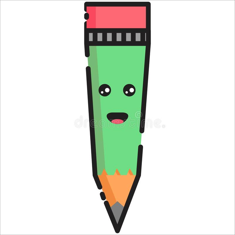 Vector Happy Pencil Illustration MBE Style royalty free illustration