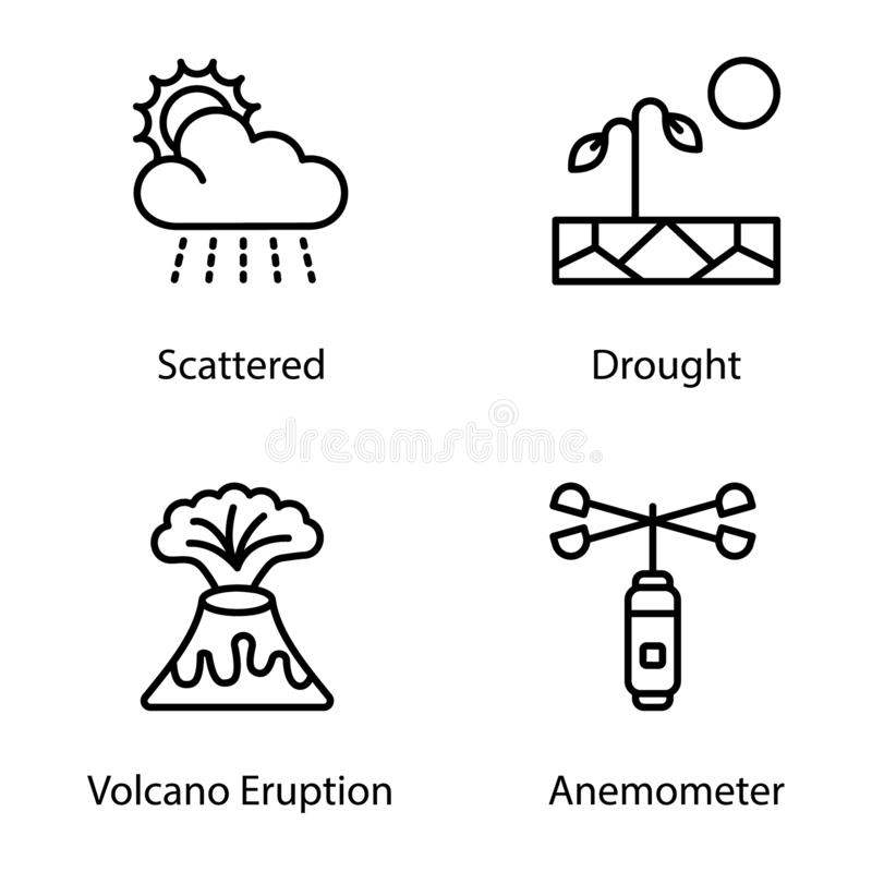 Weather Condition Line Icons Pack. Having mesmerizing and eye soothing icons are here to enchant you in better way with these editable quality visuals. Weather royalty free illustration