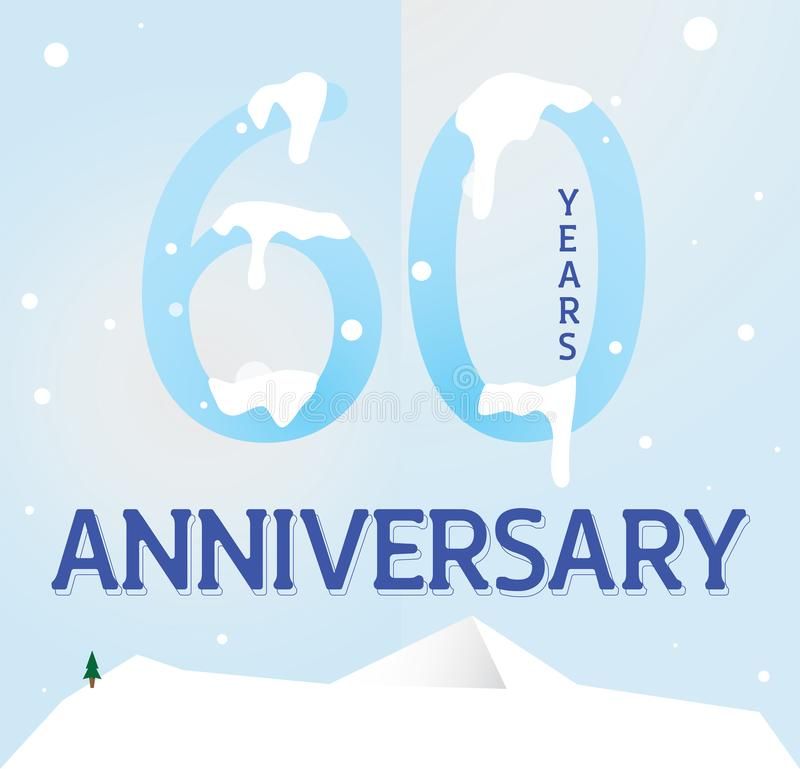 Sixty anniversary template design for web stock illustration