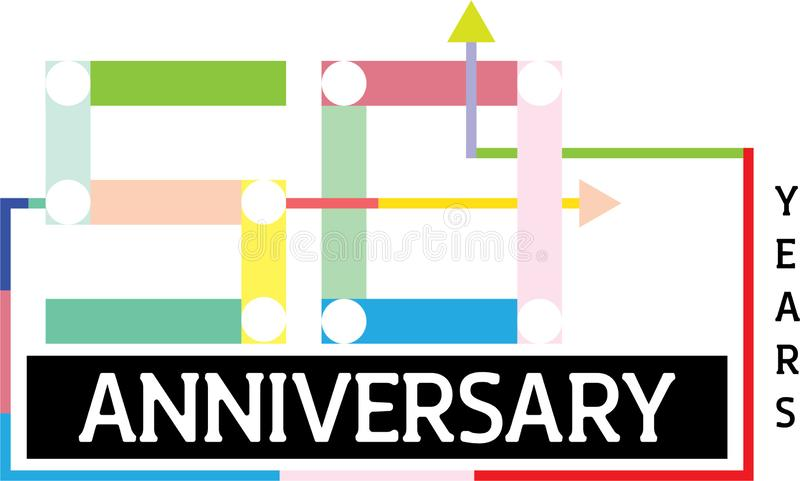 Fifty anniversary template design. Fifty Year Anniversary Template Design Illustration stock illustration