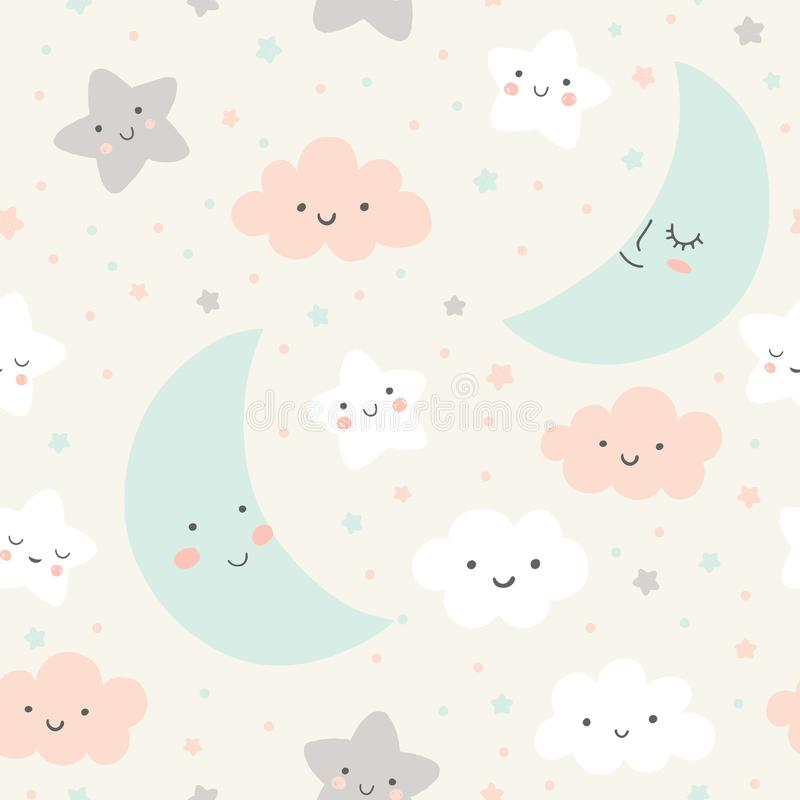 Cute sky pattern. Seamless vector design with smiling, sleeping moon, stars and clouds. Baby illustration. royalty free illustration