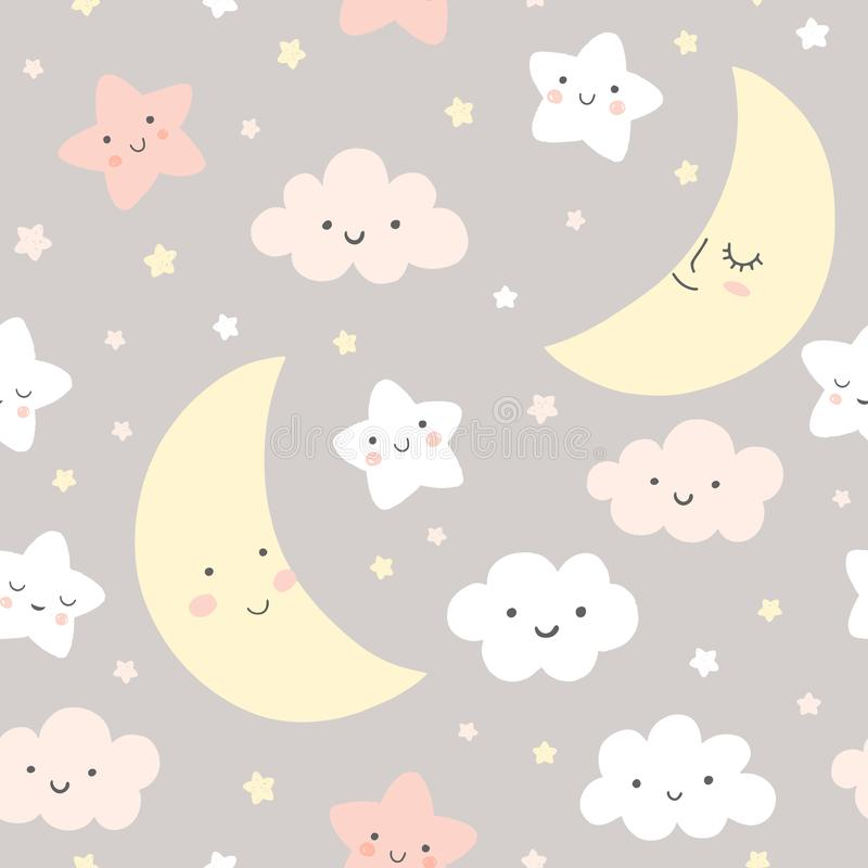Night sky  pattern. Cute smiling moon, stars, clouds seamless background. Baby print in soft, pastel colors. stock illustration