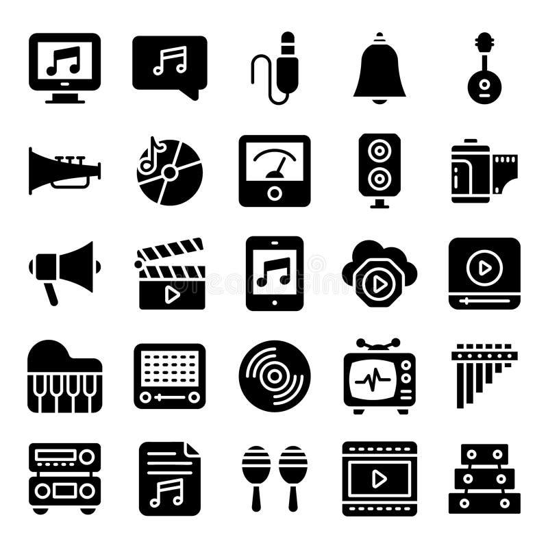 Stock Audio Solid Icons Set royalty free illustration