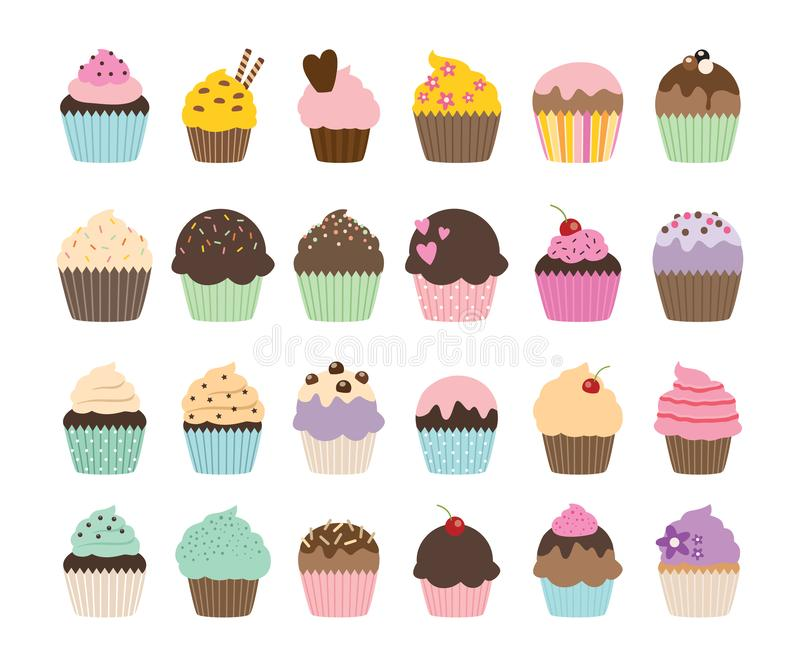 Set of cute vector cupcakes and muffins. Collection of cute, colorful vector cupcakes and muffins in graphic style vector illustration