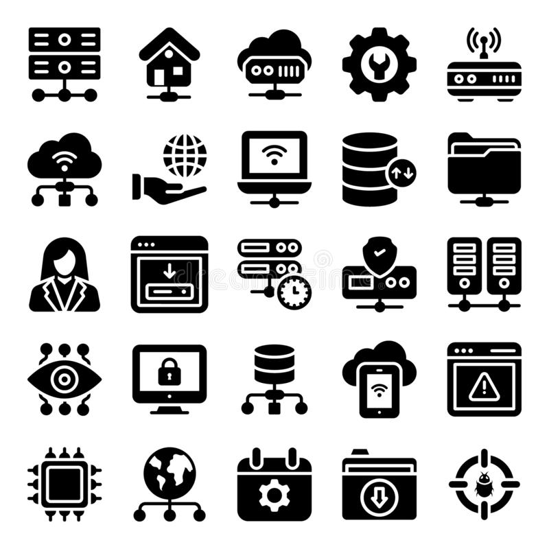 Pack Of Web Hosting Icons vector illustration