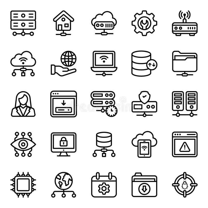 Pack Of Web Hosting Icons stock illustration