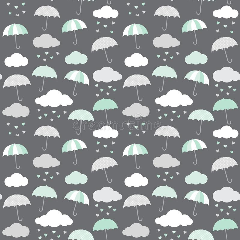 Umbrellas, clouds and hearts vector pattern in scandinavian style. Cute baby shower seamless background. royalty free illustration