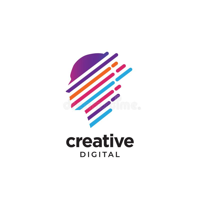 Modern trendy logo for digital creative business. Colorful diagonal lines forming people head to convey creative progress and scale up royalty free illustration