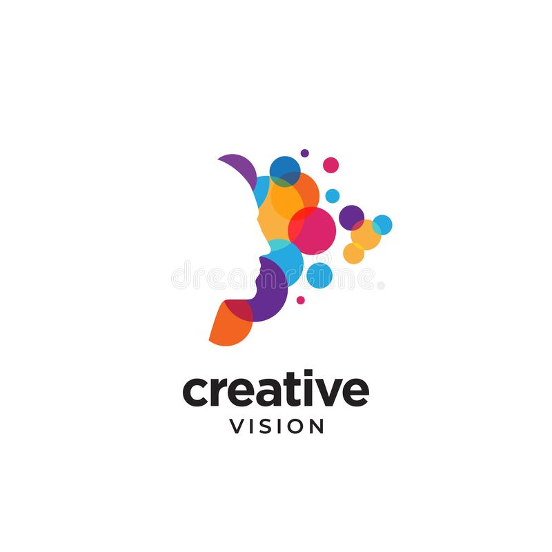 Modern negative space logo with colorful bubble spark. Modern head logo colorful bubble spark abstract convey creative vision metaphor with negative space people vector illustration
