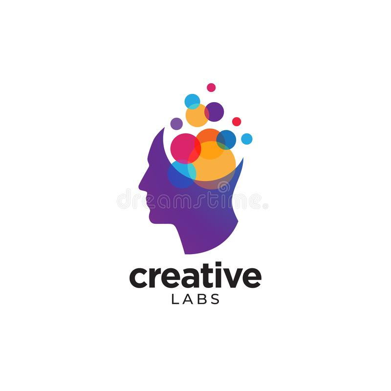 People`s head logo with colorful bubbles inside. Colorful bubbles inside human head logo to convey labs, creative thinking and ideas stock illustration