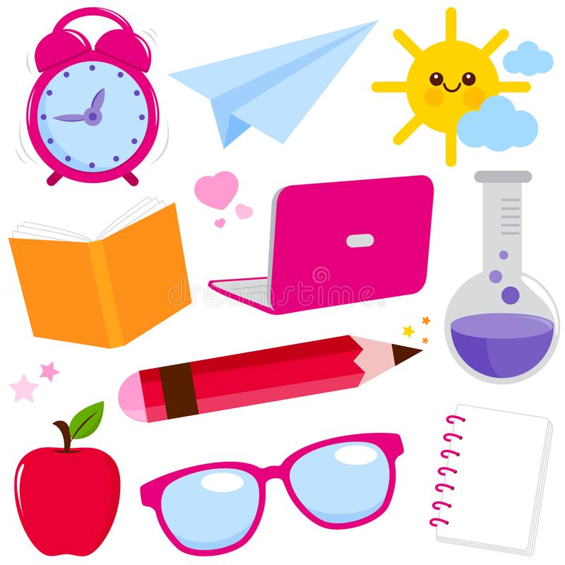 School supplies on white background. royalty free illustration