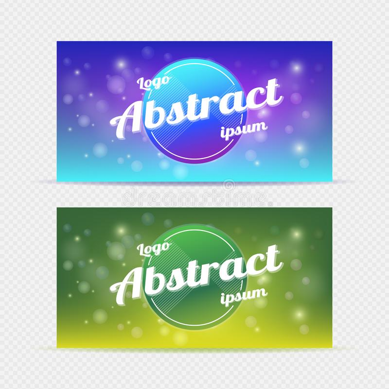 Abstract banner backgrounds blue & green light vector stock illustration