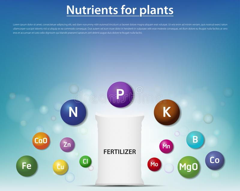 Concept fertilizer nutrients for plants. Vector illustration royalty free illustration