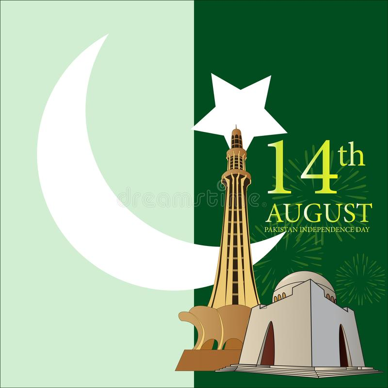Happy independence pakistan day stock illustration