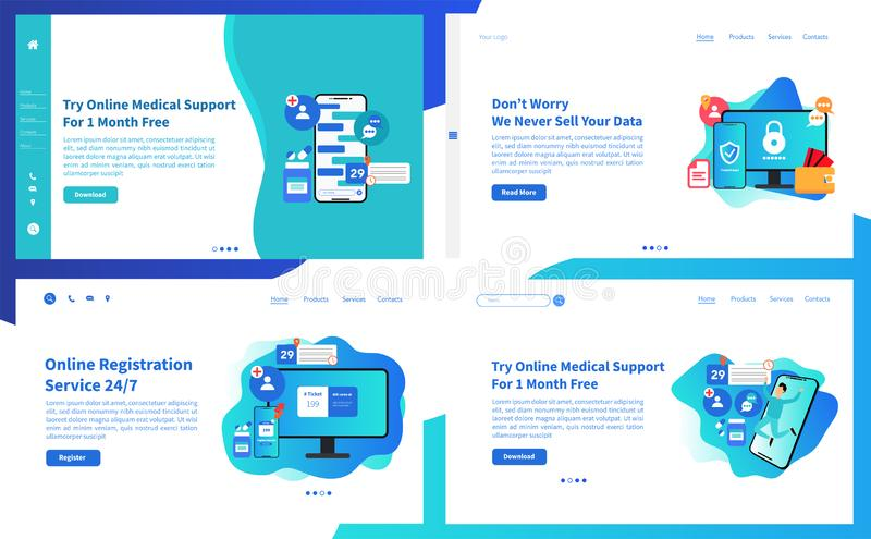 Web page design templates collection of online medical support features. Modern vector illustration concepts for website and mobil. E website development stock illustration