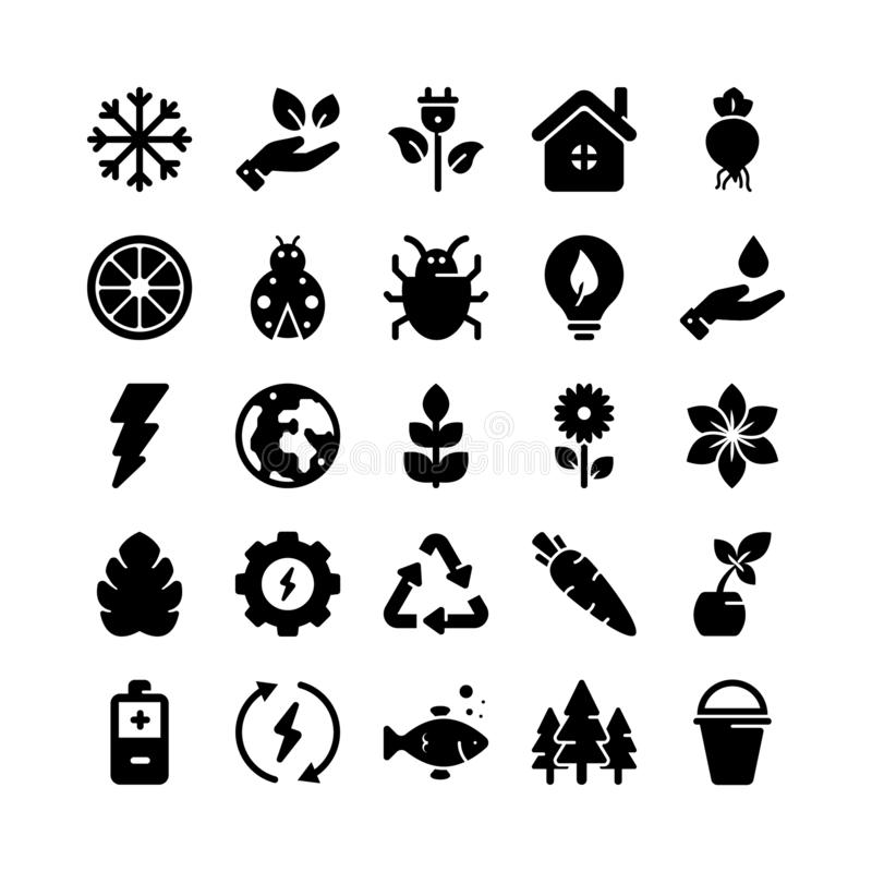 Nature Solid Icons Pack royalty free illustration