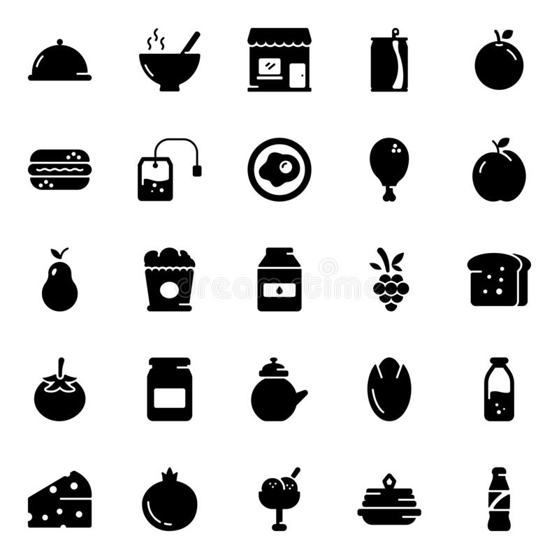 Food Solid Icons Set vector illustration