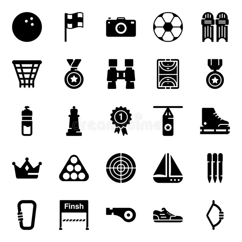 Game Glyph Icons Pack royalty free illustration