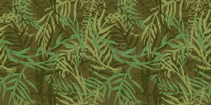 Hand drawn camo with leaf, seamless pattern. Grunge branches and herbs green camouflage background. Distressed texture wallpaper. vector illustration
