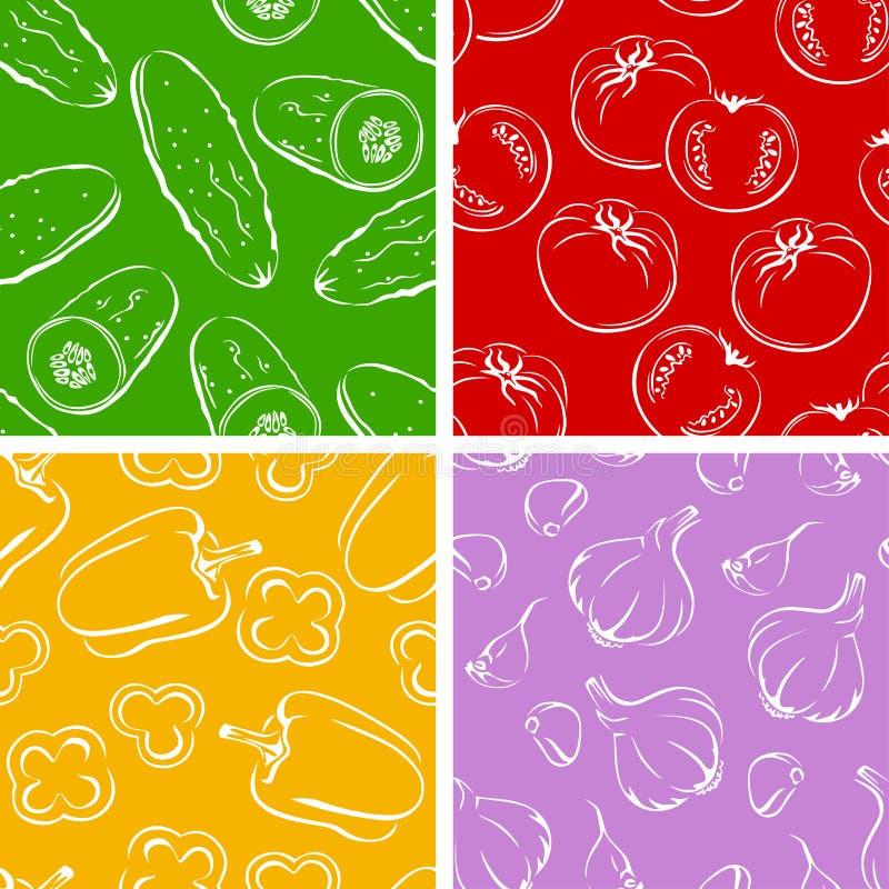 Vegetables set of seamless patterns. illustration of cucumber, tomato, bell pepper, garlic. royalty free illustration
