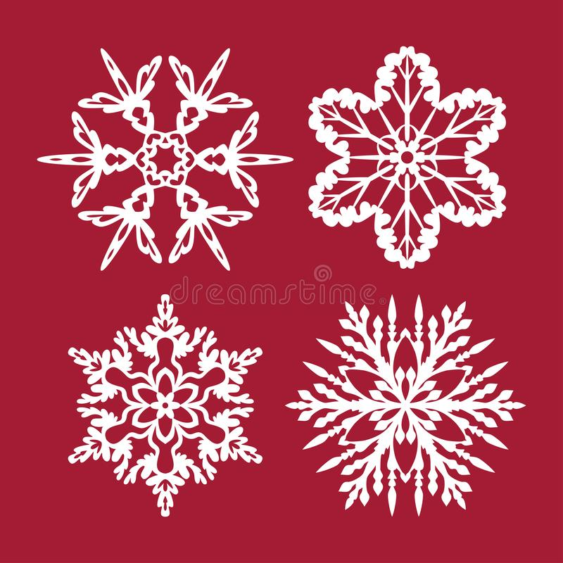 Snowflakes cutting templates collection. Template for Christmas cards, plywood cutting,. Snowflakes cutting templates collection.  Template for Christmas cards stock illustration
