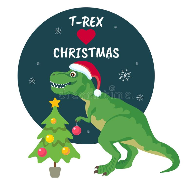 Tyrannosaurus Rex Christmas Card.  Dinosaur in Santa hat decorates Christmas tree. stock illustration