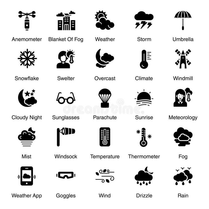 Seasonal Weather Solid Icons Pack. Seasonal weather pack including rain, tornado, windy clouds and many more weather forecast related visuals are here. Happy stock illustration