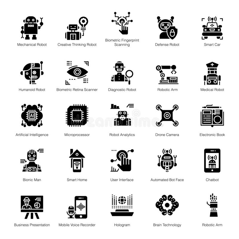 Artificial Intelligence Solid Icons royalty free illustration