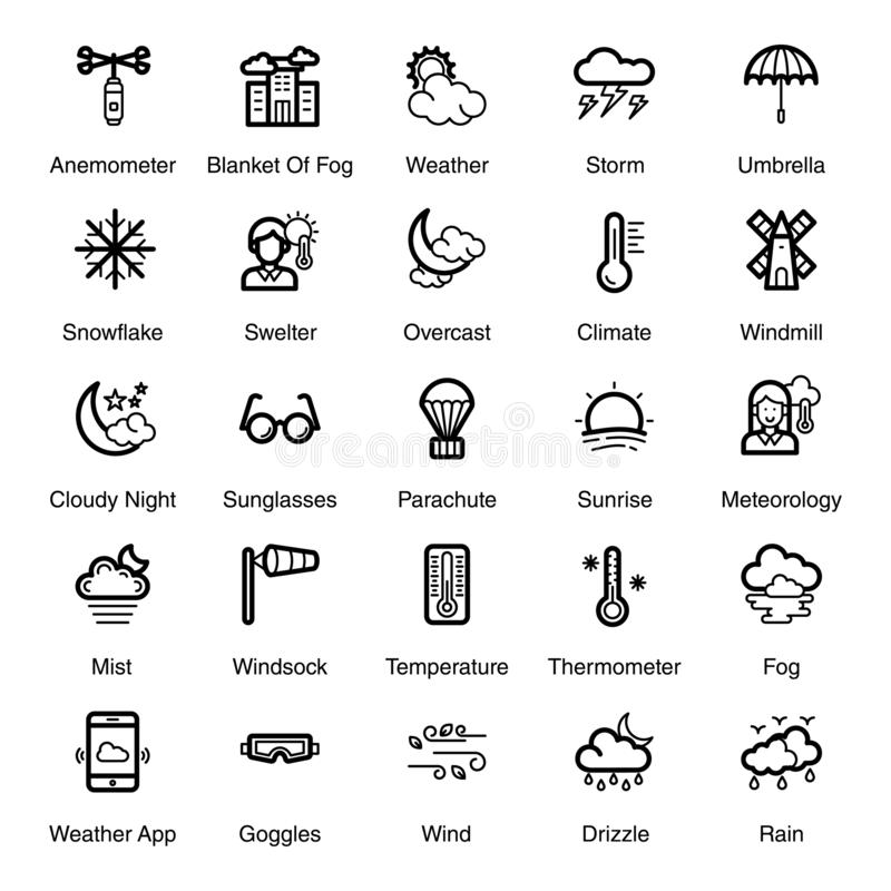 Seasonal Weather Line Icons Pack. Seasonal weather pack including rain, tornado, windy clouds and many more weather forecast related visuals are here. Happy vector illustration