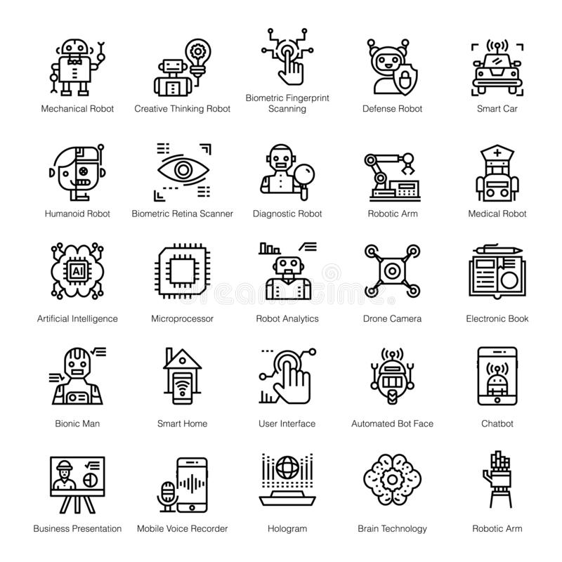Artificial Intelligence line Icons stock illustration
