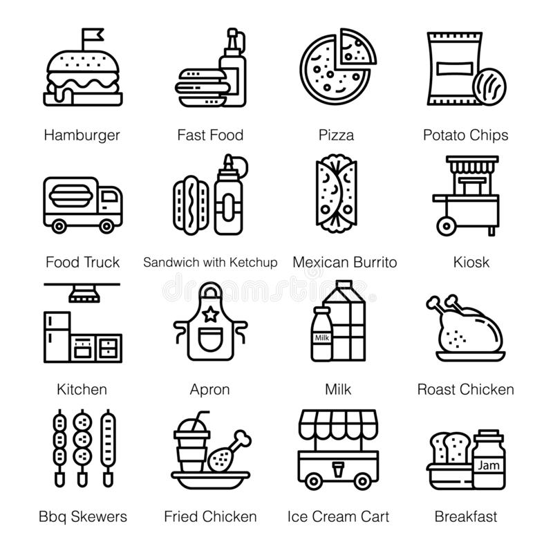 Fast Food Icons Pack vector illustration